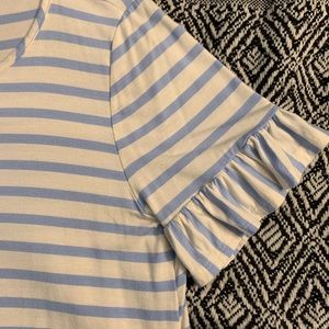 White and blue stripped Ruffle Sleeve ladies top